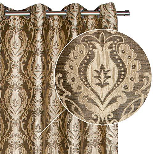 Viste tu hogar Pack 2 Cortina Decorativa con Estampado Estilo Flores Árabes, Moderna y Elegante con un Diseño Único para Salón o Habitación, 2 Piezas, 145X260 CM, en Color Café