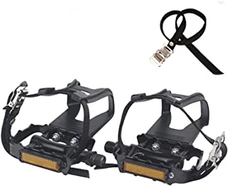 NAMUCUO Bike Pedals with Clips and Straps, for Spin Bike, Exercise Bike and Outdoor Bicycles, 9/16-Inch Spindle Resin/Alloy Bicycle Pedals, 6 Month Warranty