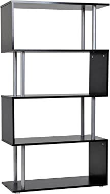 HOMCOM 4-Tires Wooden Bookcase S Shape Storage Bookshelf Display for Living Room, Bedroom, Office with Steel Frame, Black
