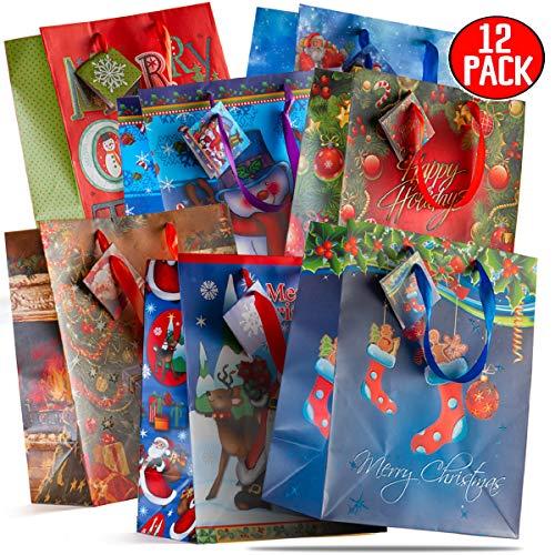 Prextex 12 surtido de bolsas de regalo de Navidad de 33 cm Bolsas de regalo navideñas de tamaño grande Motivos...