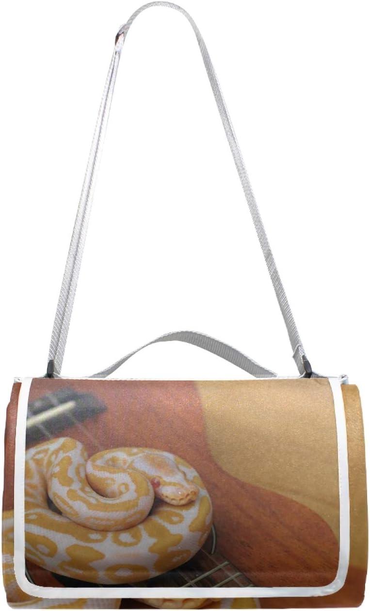 JRDD Ukulele Snake Max 72% OFF Ball Python Picnic Wash Mat Large discharge sale Square Waterproof