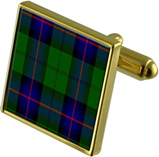 Tartan Clan Armstrong Gold Cufflinks in Engraved Personalised Case