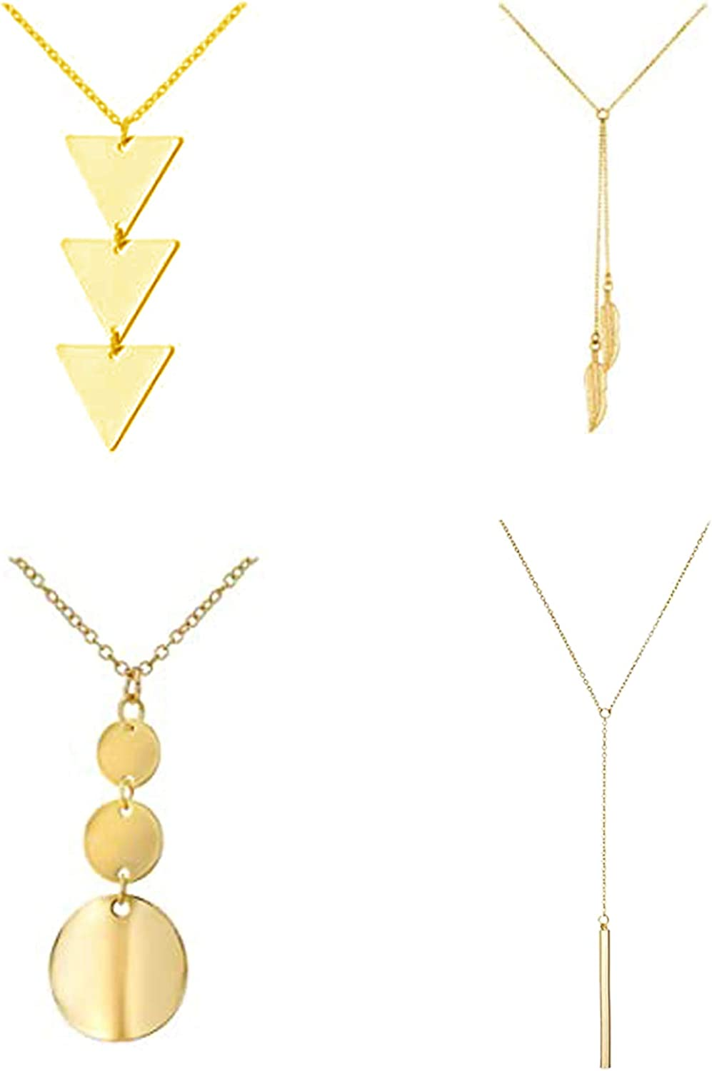 4Pcs Long Pendant Necklace Cheap mail order sales For Tassel Women Three Lock Triangle OFFer