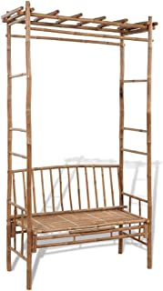 vidaXL Garden Bench with Pergola 130cm Bamboo Weather Resistant Outdoor Arbor Lounge Seat Plant Climbing Support for Rose ...