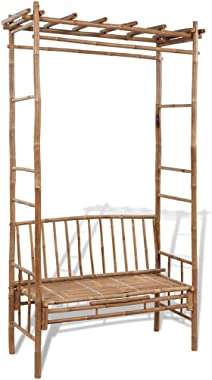 vidaXL Garden Bench with Pergola 130cm Bamboo Weather Resistant Outdoor Arbor Lounge Seat Plant Climbing Support For Rose Vin