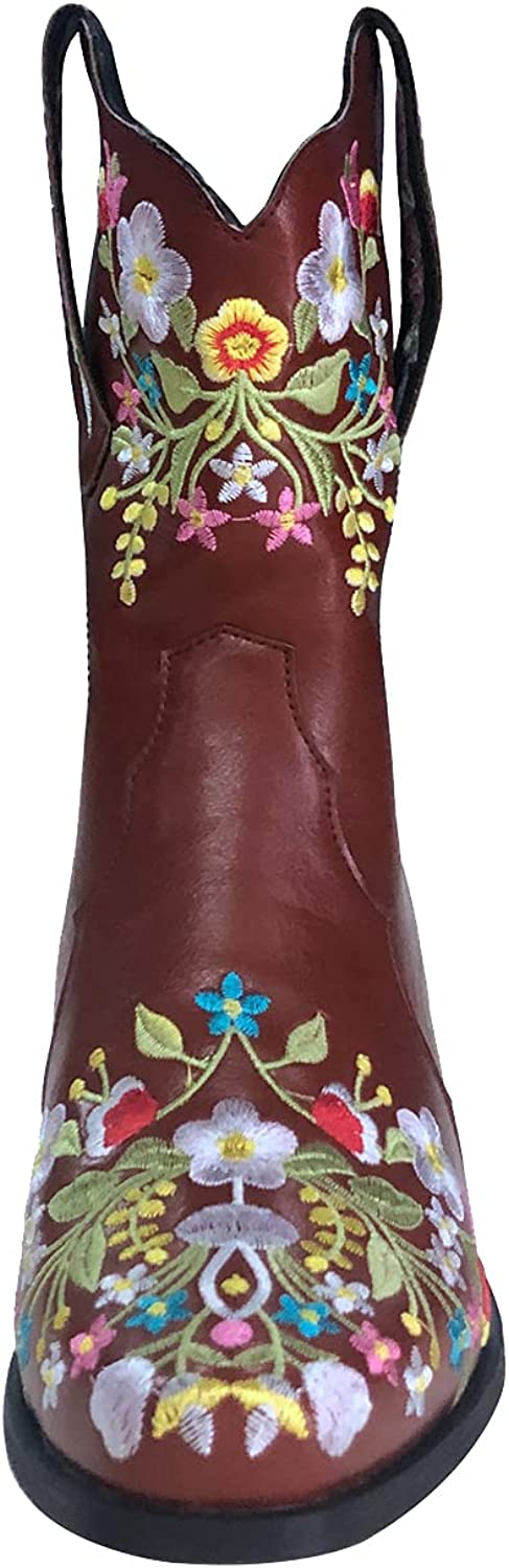 SeiteHuud Women Fashion Western Boots Wide Calf Slip on Embroidery Plus Size 4-10