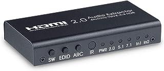 ELEVIEW HDMI 切替器 音声分離器 4K/60Hz HDR対応 2入力1出力 (オーディオ出力:光デジタル・3.5mmステレオミニ)|ARC対応 セレクター 分配器 PS4pro・PS5・Nintendo Switch・Fire TV...