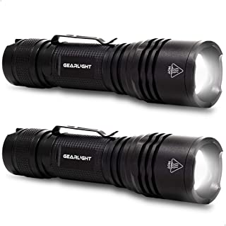 GearLight TAC LED Tactical Flashlight [2 PACK] - Single Mode, High Lumen, Zoomable, Water Resistant, Flash Light - Camping, Outdoor, Emergency, Everyday Flashlights with Clip