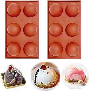 6 Holes Silicone Mold For Chocolate, Cake, Jelly, Pudding, Handmade Soap, BPA Free Cupcake Baking Pan (2pcs)