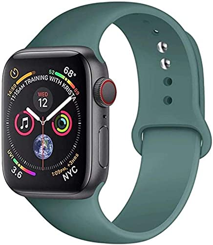 Oboe 42 44mm Silicone Smart Sport Watch Band Breathable Strap Compatible with Apple Watch iWatch Series 6 5 4 3 2 1 Pine Green