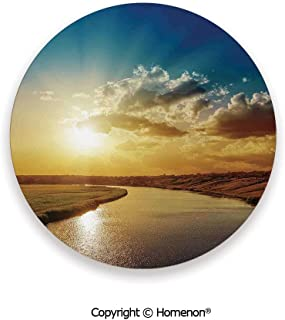 Cool Sunset over River Horizon Magical Landscape Phenomenal Physical Event Theme,Ceramic Stone With Cork Back Blue Golden,3.9×0.2inches(6PCS),Protect Furniture From Coffee Or Tea