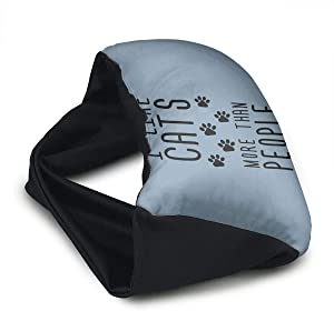 Voyage Travel Pillow Eye Mask 2 in 1 Portable Neck Support Scarf Like Cats More Than People Ergonomic Naps Rest Pillows Sleeper Versatile for Airplanes Car Train Bus Home Office