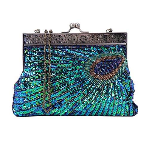 Wanfor Damen Handtasche aus Chic Perlen Pailletten, Funkelnde Party Clutch aus Leder mit Kettenriemen, Perlen Pailletten Pfau Stil (Blau)