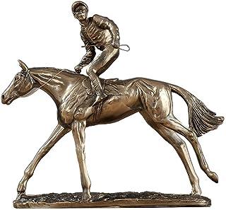 Yadianna Home Decoration Jockey and Horse, Jumping Horse Racing Statue Bronze Sculpture Jockey Steeplechaser Ornament Desk...