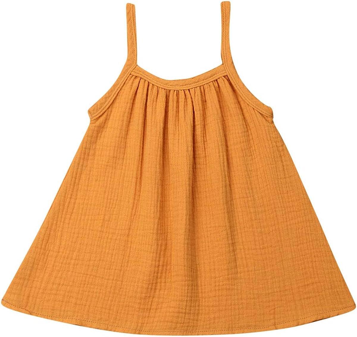 FOCUSNORM Toddler Baby Girls Dress Cotton Spaghetti Strap Sleeveless Bow Knot Princess Skirt Overall Dress