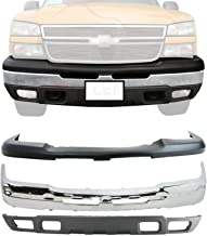 New Front Bumper Face Bar Chrome Steel + Upper Cover & Lower Valance Air Deflector Textured with Fog Light Holes For 2003-...