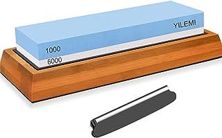 YILEMI 両面砥石包丁研ぎ 滑り止めゴム台座 補助具付き 日本語説明書付き
