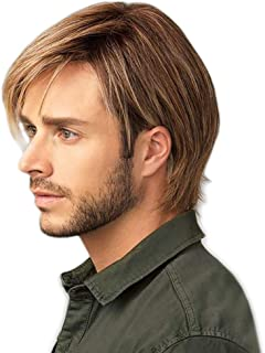 STfantasy Mens Wig Ombre Blonde Brown Short Straight Layered Synthetic Hair for Male Guy Everyday Wear Cosplay Halloween Party