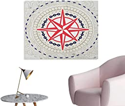 Anzhutwelve Compass Photographic Wallpaper Abstract Windrose with Marine Symbols Rope Chains Floral Design Navigation Space Poster Hot Pink Blue Grey W32 xL24