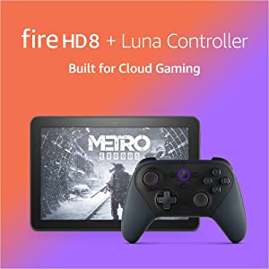"""Fire HD 8 tablet Gaming Bundle including Fire HD 8 tablet (Black, 32 GB), Lockscreen Ad-Supported, 8"""" HD display, and Luna Controller"""