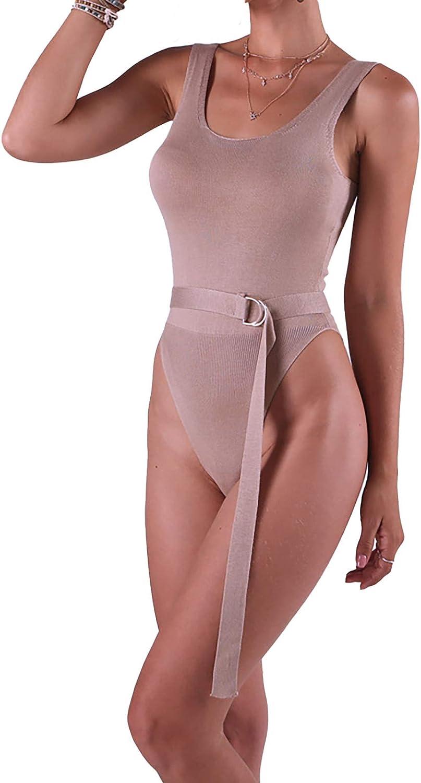 Womens Scoop Neck Ribbed Waist Tie Tank Top Bodysuits Top