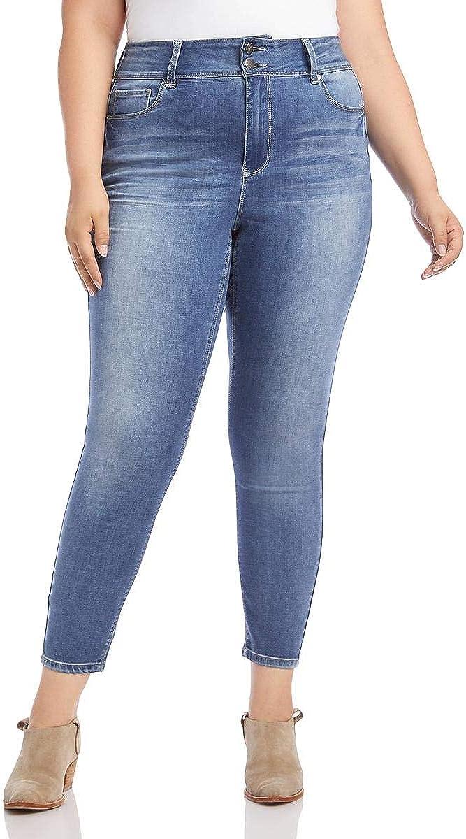 Karen Kane Womens Plus Cropped Medium Wash Skinny Jeans