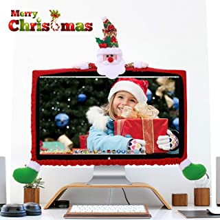 ElementDigital Computer Monitor Cover, Computer Case Christmas Three-Dimensional Cartoon Decorations for Home Mall Office Photography Christmas New Year (Santa Claus)