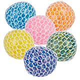 Mozlly Multi-Colored Mesh Balls Squeezy Bead Soft & Gooey Stress, Anxiety, Tension Reliever Hand Muscle Therapy Bouncy Squishy Stressball Sensory Toy Party Favor Game Prizes- 2.75', Assorted 6pcs/Set