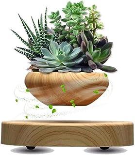 Magnetic Levitating Plant Pot Holder LED Air Floating Japanese Bonsai Mini Plastic Rotating Potted Flower Sky Succulent Home Decor
