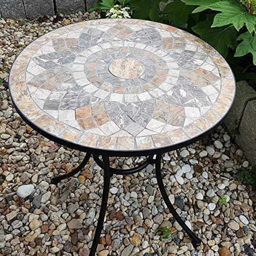 K&L Wall Art Garten Balkon Terrassen Tisch mit schönem Stein Mosaik Muster, 60 cm Durchmesser, handgefertigte Stein Tischplatte, Innen- und Außen, wetterfest, einfach kombinierbar
