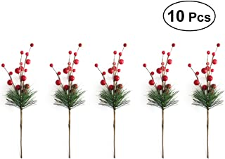 ULTNICE 10pcs Small Artificial Pine Picks Stimulation Berry Pine Needles Red Berry Flower Ornaments for Christmas Flower Arrangements Wreaths Holiday Decorations