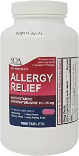 Allergy Relief Diphenhydramine HCl 25mg 1000 Tablets   Relief for Itchy-Watery Eyes, Sneezing, Runny Nose   Indoor & Outdoor Allergies