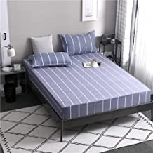 Fits Mattress Perfectly,Cotton Printed Sheets,Single and Double King Size Non-Slip Protective Cover for Apartment Bedroom-...