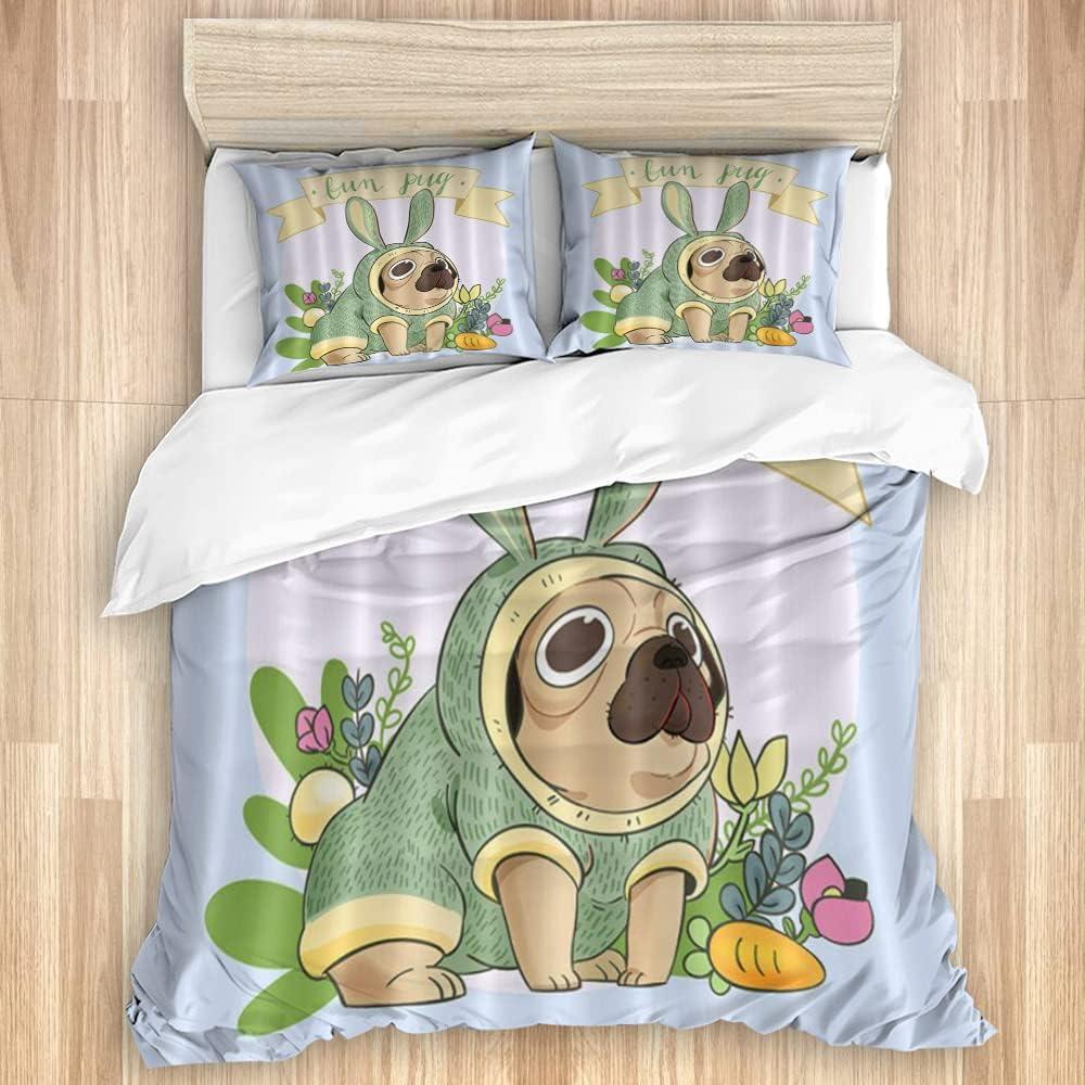 WINCAN Bedding Duvet Cover 3 Piece Cartoon Las Vegas Mall Animation Pug favorite Dog Set