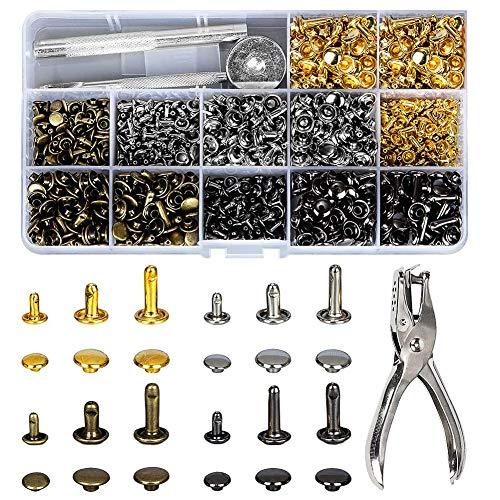 480 Sets 3 Größen Leder Nieten Doppelkappe Rivet Tubular Metall Ohrstecker mit 4 Werkzeuge Zange/Setzer für DIY Lederhandwerk kleidung (Gold, Silber,Messing und Gunmetal)…