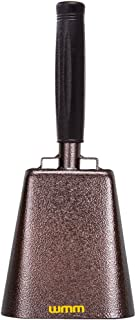 7 Inch Steel Cowbell with Handle Cheering Bell for Sports Events Large Solid School Bells & Chimes Percussion Musical Instruments Call Bell Alarm(Copper)