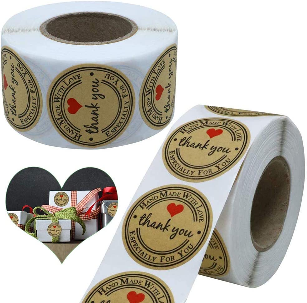 Handmade with Love Stickers 1'' Baking Stickers 1000pcs Kraft Paper Thank You Stickers Roll Handmade Stickers
