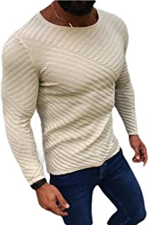 Fensajomon Men Loose Fit Stripe Crew Neck Knitted Pullover Sweater Jumper Top