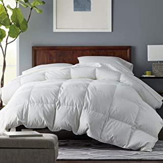 Balichun Premium Down Comforter Queen- Solid White - Soft 1500 Thread Count Cotton Shell - 750 Fill Power - Down Duvet Insert with Tabs (White, Queen)