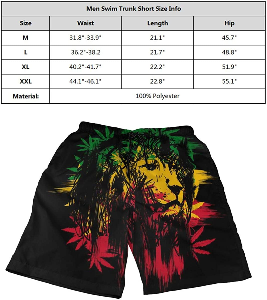 DASMUS Symbol of The Rastafarian Subculture Men Drawstring Beach Board Shorts Swim Trunks with Mesh Lining