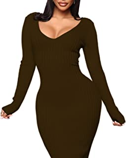 Women's Bodycon Off-Shoulder Sweater Dresses - Long Sleeve Knit Slim Maxi Dress