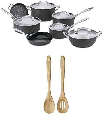 Cuisinart GG-12 GreenGourmet Hard-Anodized Nonstick 12-Piece Cookware Set with GreenGourmet Bamboo Collection Solid and Slotted Spoon Set Bundle