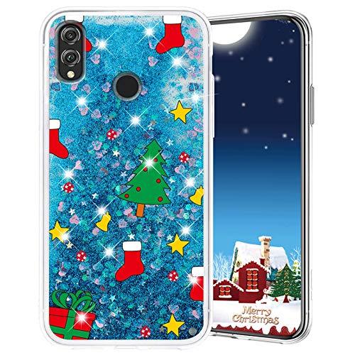 Misstars Weihnachten Handyhülle für Honor 8X, 3D Kreativ Glitzer Flüssig Transparent Weich Silikon TPU Bumper mit Weihnachtsbaum Muster Design Anti-kratzt Schutzhülle für Huawei Honor 8X