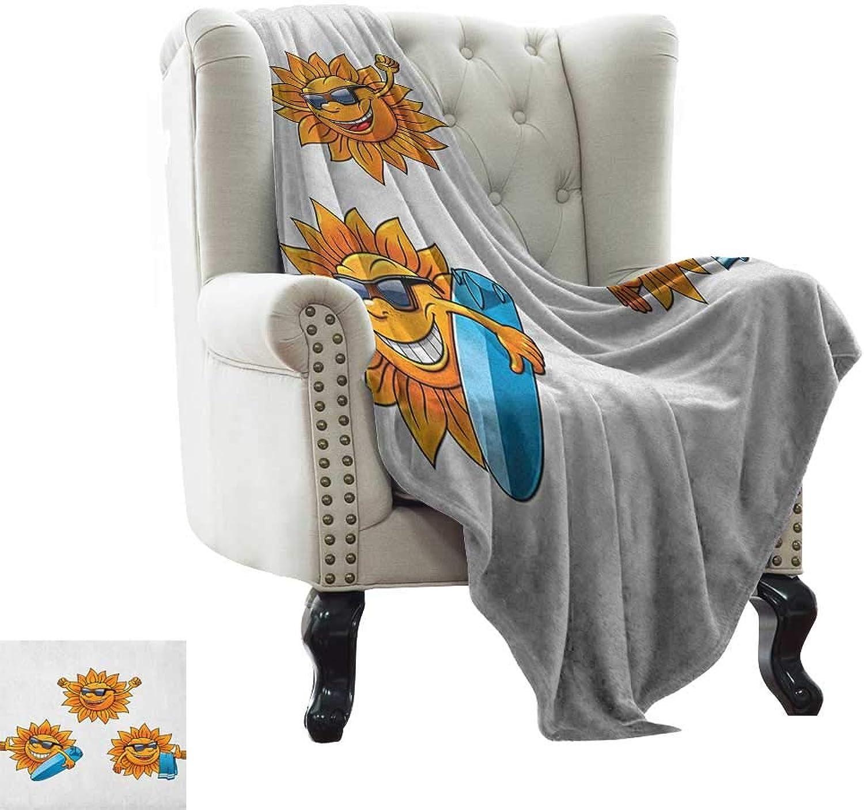 Cartoon, Lightweight Blanket, Surf Sun Characters Wearing Shades and Surfboards Fun Hippie Summer Kids Design, Digital Printing Blanket, (W50 x L60 Inch orange White