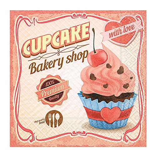 20 stuks servetten 33x33 cm cupcake taartjes cake koffie