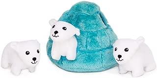 ZippyPaws Zoo Friends Burrow, Interactive Squeaky Hide and Seek Plush Dog Toy - Polar Bear Igloo