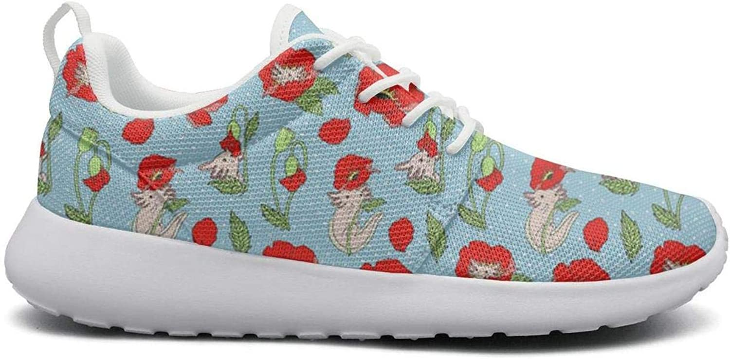 Ipdterty Wear-Resistant Outdoor Sneaker Beautiful Axolotl with Poppies Womens Ladies Fashion Track Running shoes