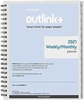 """2021 Weekly & Monthly Planner Refill by AT-A-GLANCE, 8-1/2"""" x 11"""", Large, Wirebound, Outlink (7020091021) photo"""