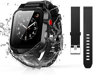 Waterproof Apple Watch Series 2&3 38mm Case, Waterproof Shockproof Impact Resistant Rugged Protective Case with Bulit-in Screen Protector Premium Soft Strap Bands (Waterproof Apple Watch Case 38mm)