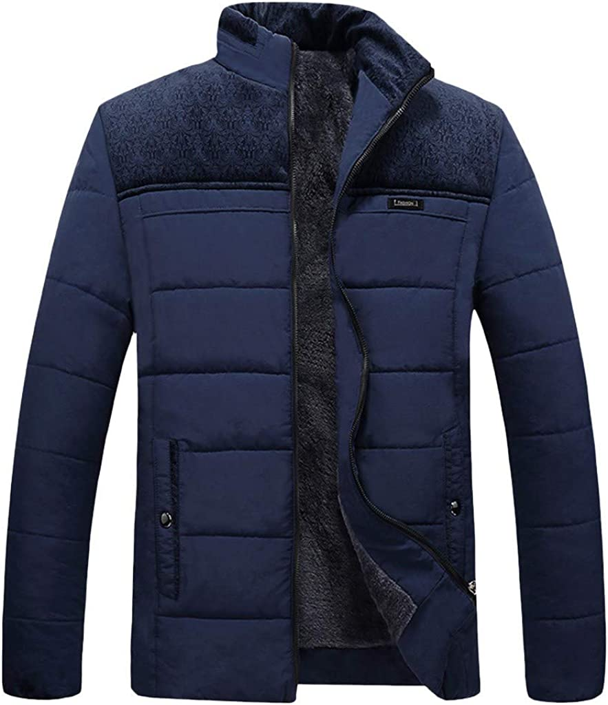 Stoota Men's 2019 Water-Resistant Packable Down Jacket, Stand Collar Regular Fit Solid Warm Zipper Long Sleeve Coat Blue